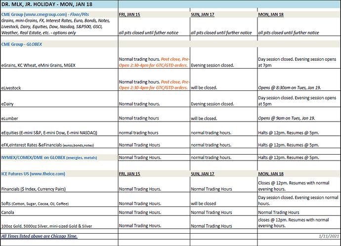 MLK Schedule 2021