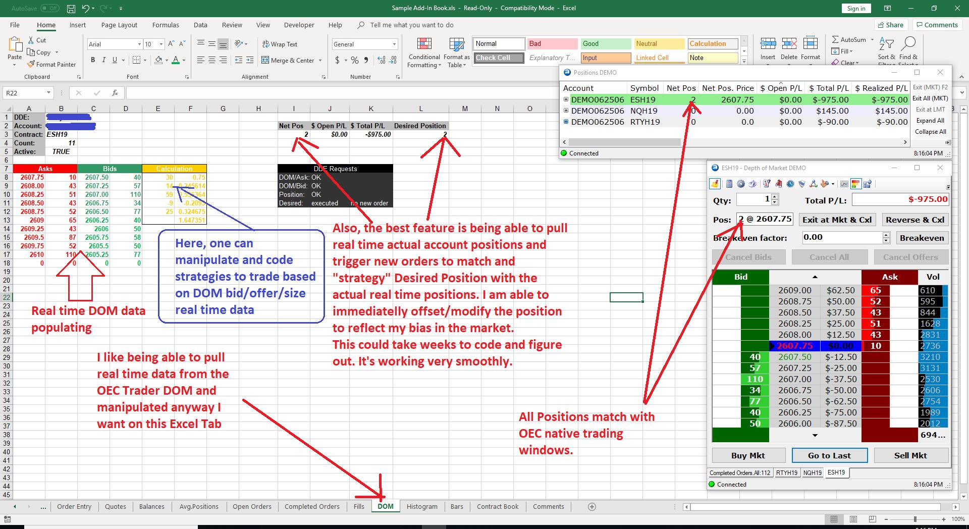 Gain Trader (OEC Trader) - Excel Trading Spreadsheet DDE