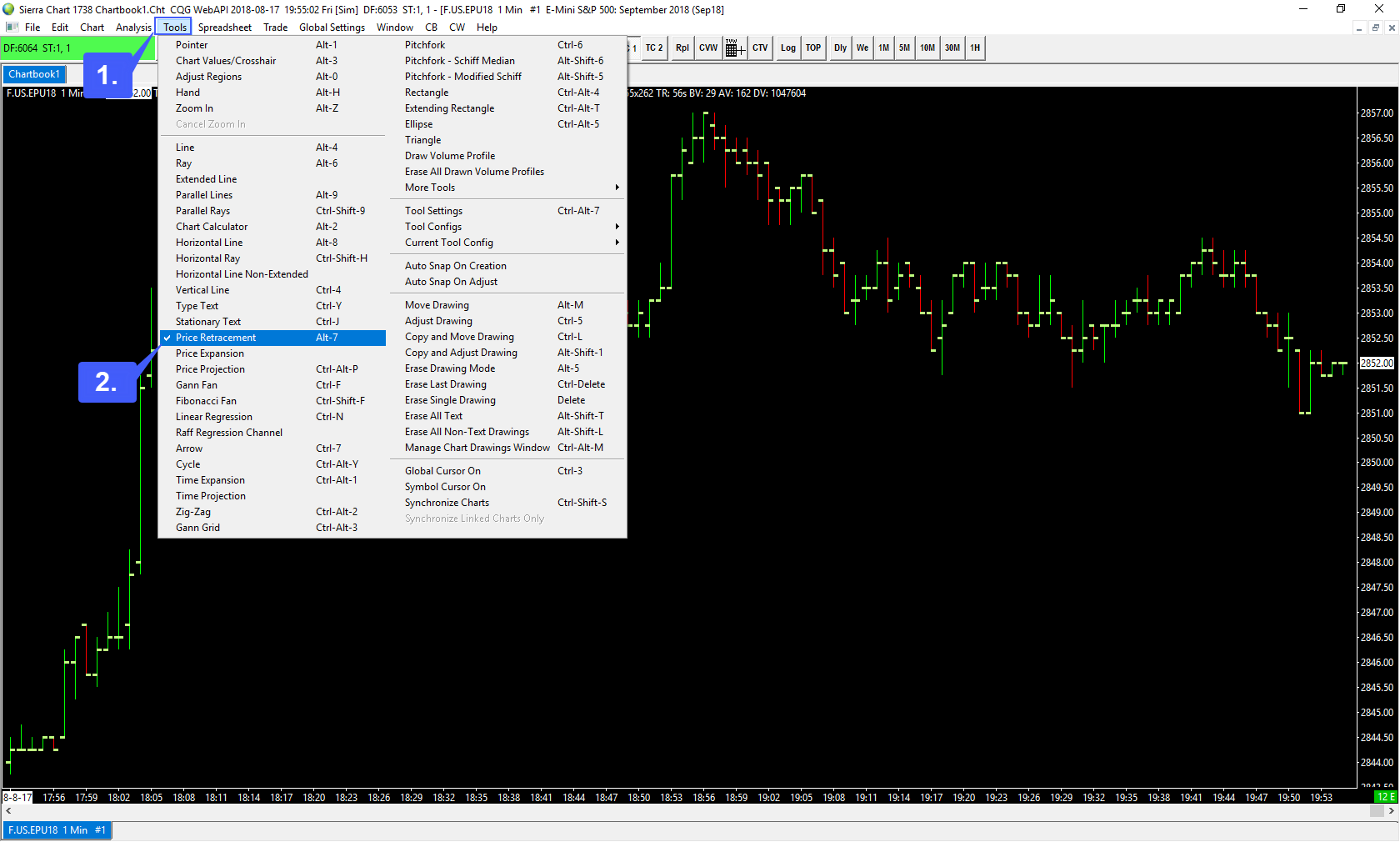 Does Sierra Chart provide traders with the ability to draw